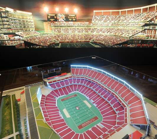 Renderings of the 49ers stadium design are displayed at the team's New Stadium Preview Center in Santa Clara, Calif., on Tuesday, Sept. 27, 2011. Photo: Noah Berger, Special To The Chronicle