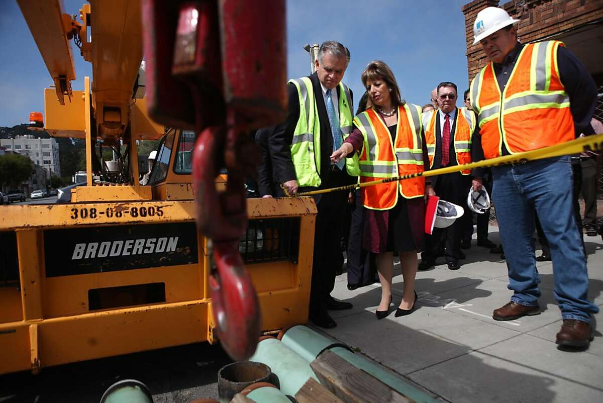 Transportation Secretary Ray LaHood (left) and U.S. Rep. Jackie Speier (second from left) talk as they tour a PG&E worksite with Rick Salaz (right), PG&E gas superintendent in San Francisco, Calif., Thursday, May 19, 2011. Ran on: 05-20-2011 Transportation Secretary Ray LaHood (left) and Rep. Jackie Speier talk as they tour a PG&E worksite in San Francisco with Rick Salaz, the utility companys gas superintendent. LaHood said the nations pipeline system needs to be fixed. Ran on: 05-20-2011 Transportation Secretary Ray LaHood (left) and Rep. Jackie Speier talk as they tour a PG&E worksite in San Francisco with Rick Salaz, the utility companys gas superintendent. LaHood said the nations pipeline system needs to be fixed. Ran on: 05-20-2011 Transportation Secretary Ray LaHood (left) and Rep. Jackie Speier talk as they tour a PG&E worksite in San Francisco with Rick Salaz, the utility companys gas superintendent. LaHood said the nations pipeline system needs to be fixed. Ran on: 05-20-2011 Transportation Secretary Ray LaHood (left) and Rep. Jackie Speier talk as they tour a PG&E worksite in San Francisco with Rick Salaz, the utility companys gas superintendent. LaHood said the nations pipeline system needs to be fixed.