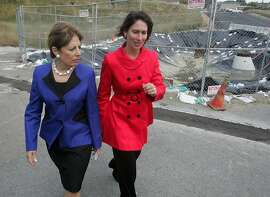 Congresswoman Jackie Speier (D-San Francisco/San Mateo), left, and  National Transportation and Safety Board Chairwoman Debra Hersman walk past the site of last September's deadly natural gas explosion on Wednesday, June 8, 2011 in San Bruno, Calif. The two held a news conference earlier on issues related to the blast. Ran on: 06-09-2011 Rep. Jackie Speier (left) and National Transportation and Safety Board Chairwoman Debra Hersman tour the area. Ran on: 06-09-2011 Rep. Jackie Speier (left) and National Transportation and Safety Board Chairwoman Deborah Hersman tour the area.
