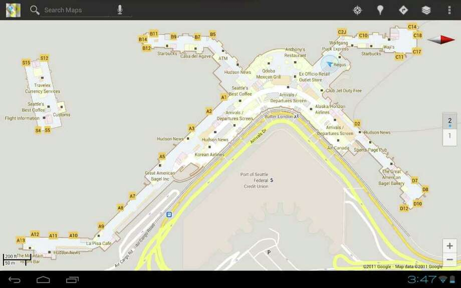 Seattle Map Airport.Google Helps Find Way Through Sea Tac Airport Ikea Seattlepi Com