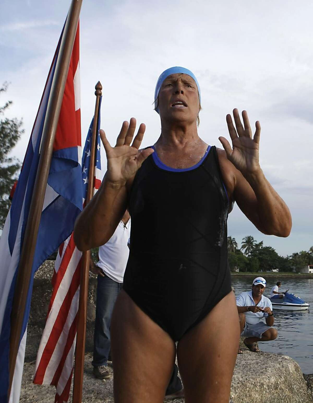 U.S. swimmer Diana Nyad speaks with journalists before her swim from Cuba to Florida at the Hemingway Marina in Havana, Cuba, Friday Sept. 23, 2011. Endurance athlete Nyad will attempt for a second time to swim from Cuba to Florida in hopes of setting a world record at the age of 62. The Los Angeles woman fell short in a previous attempt at the swim last month, calling it off after 29 hours in the water and about halfway through the 103-mile (166-kilometer) journey. (AP Photo/Javier Galeano)