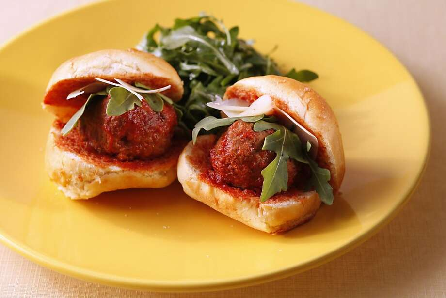 Meatball Sliders as seen in San Francisco, California, on Thursday, June 16, 2011. Food styled by Rochelle Vurek.  Ran on: 06-26-2011 Photo caption Dummy text goes here. Dummy text goes here. Dummy text goes here. Dummy text goes here. Dummy text goes here. Dummy text goes here. Dummy text goes here. Dummy text goes here.###Photo: WEEKNIGHT26_ph1308096000SFC###Live Caption:Meatball Sliders can be served for dinner or as a hefty appetizer. Food styled by Rochelle Vurek.###Caption History:Meatball Sliders as seen in San Francisco, California, on Thursday, June 16, 2011. Food styled by Rochelle Vurek.###Notes:###Special Instructions:MANDATORY CREDIT FOR PHOTOG AND SF CHRONICLE-NO SALES-MAGS OUT-INTERNET__OUT-TV OUT Photo: Craig Lee, Special To The Chronicle