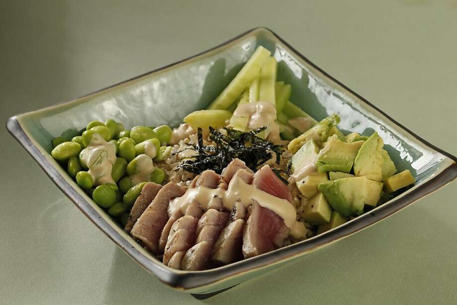 Grilled tuna rice bowl as seen in San Francisco, California, on Wednesday, July 6, 2011. Food styled by Amanda Gold.  Ran on: 07-17-2011 Photo caption Dummy text goes here. Dummy text goes here. Dummy text goes here. Dummy text goes here. Dummy text goes here. Dummy text goes here. Dummy text goes here. Dummy text goes here.###Photo: WEEKNIGHT17_rp21309478400SFC###Live Caption:Grilled Tuna Rice Bowl. Food styled by Amanda Gold.###Caption History:Grilled tuna rice bowl as seen in San Francisco, California, on Wednesday, July 6, 2011. Food styled by Amanda Gold.###Notes:###Special Instructions:MANDATORY CREDIT FOR PHOTOG AND SF CHRONICLE-NO SALES-MAGS OUT-INTERNET__OUT-TV OUT Photo: Craig Lee, Special To The Chronicle