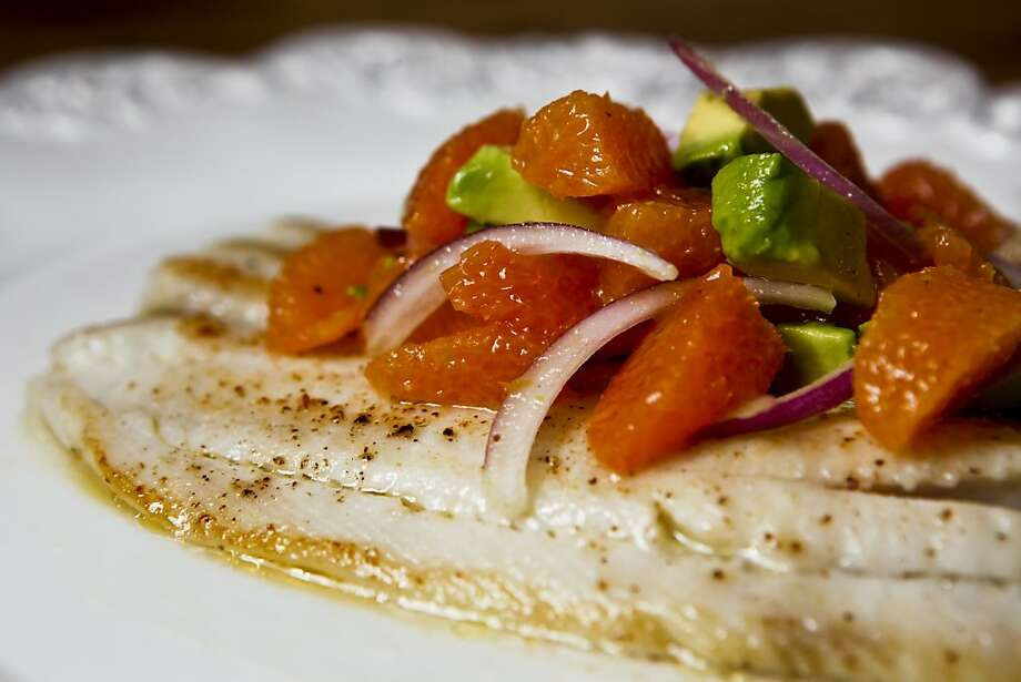 Chronicle Food writer Amanda Gold prepared weeknight meal of Sole with Cara Cara Orange, Avocado and Red Onion Salsa on Monday, Jan. 31, 2011 in San Francisco, Calif.   Ran on: 02-13-2011 Photo caption Dummy text goes here. Dummy text goes here. Dummy text goes here. Dummy text goes here. Dummy text goes here. Dummy text goes here. Dummy text goes here. Dummy text goes here.###Photo: weeknightmeals13_sole_ph1282780800SFC###Live Caption:Chronicle Food writer Amanda Gold prepared weeknight meal of Sole with Cara Cara Orange, Avocado and Red Onion Salsa on Monday, Jan. 31, 2011 in San Francisco, Calif.###Caption History:Chronicle Food writer Amanda Gold prepared weeknight meal of Sole with Cara Cara Orange, Avocado and Red Onion Salsa on Monday, Jan. 31, 2011 in San Francisco, Calif.###Notes:###Special Instructions:**MANDATORY CREDIT FOR PHOTOG AND SF CHRONICLE-NO SALES-MAGS OUT-TV OUT-INTERNET: AP MEMBER NEWSPAPERS ONLY** Photo: Russell Yip, The Chronicle