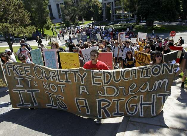 Protesters, angered by continually rising tuition and cutbacks, march through the UC Berkeley campus on Thursday, Sept. 22, 2011. Photo: Paul Chinn, The Chronicle