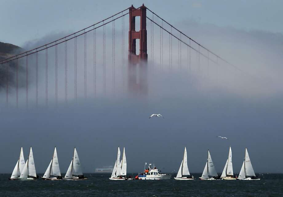 Sailboats dominate on the bay as fog rolls over the Golden Gate Bridge in San Francisco, Calif. on Friday, Sept. 22, 2011. Photo: Paul Chinn, The Chronicle