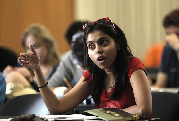 "Student, Sukanya Chakrabarti asks a quetion during  ""Happiness"" ""The Pursuit of Happiness and Health""  course, at Stanford University in Palo Alto, Ca., on Tuesday September 27, 2011. Stanford University is offering a class on happiness- tips and tricks and things that stressed-out, over achieving students can build into their lives to be happier and more stress free. Photo: Michael Macor, The Chronicle"