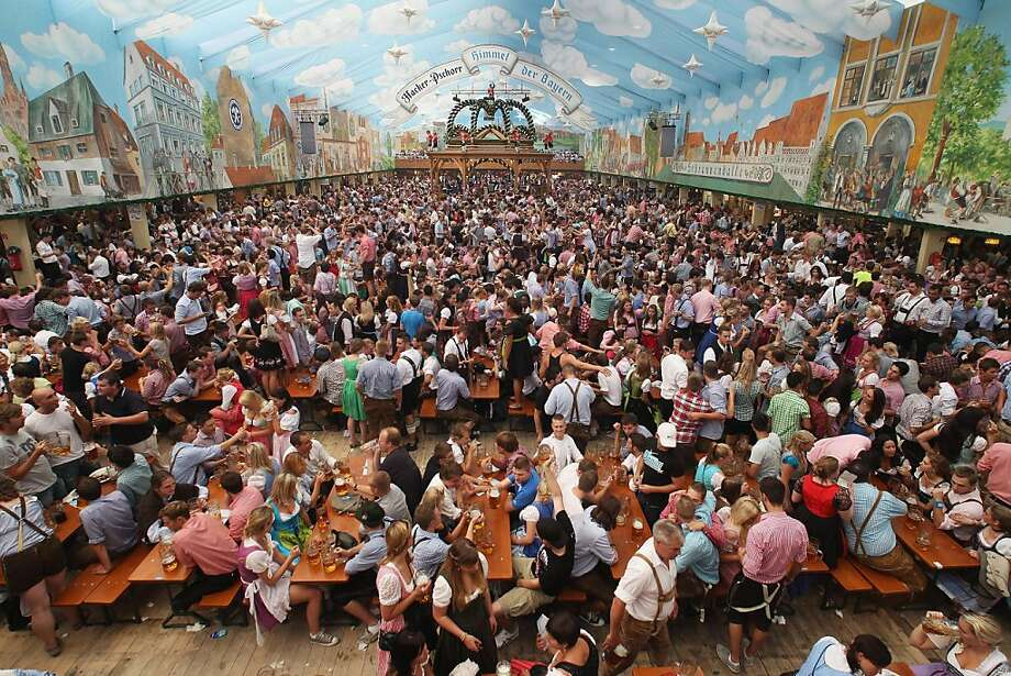 MUNICH, GERMANY - SEPTEMBER 17:  A general view shows a crowded beer tent during the opening day of the Oktoberfest 2011 beer festival at Theresienwiese on September 17, 2011 in Munich, Germany.  The world's biggest beer festival starts September 17 and runs until October 3, 2011.  (Photo by Alexandra Beier/Getty Images) *** BESTPIX *** Photo: Alexandra Beier, Getty Images