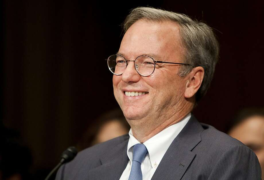 "Eric Schmidt, chairman of Google Inc., laughs during a Senate Judiciary Committee's antitrust subcommittee hearing in Washington, D.C., U.S., on Wednesday, Sept. 21, 2011. Schmidt told the Senate antitrust subcommittee that ""we get the lessons"" of predecessors and put consumers first when deciding on its corporate policies. Photographer: Joshua Roberts/Bloomberg *** Local Caption *** Eric Schmidt Photo: Joshua Roberts, Bloomberg"