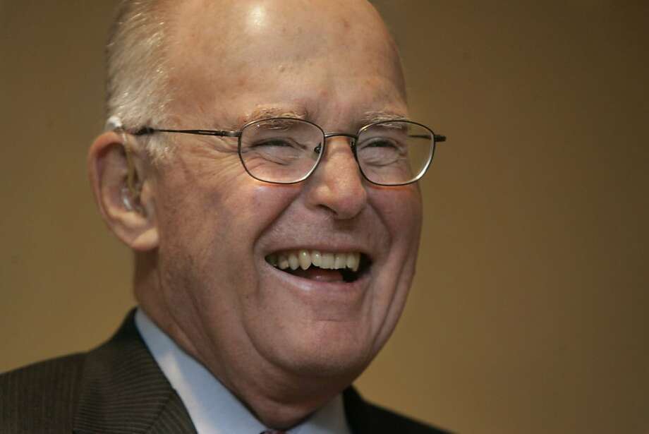 moore141_lm.JPG  Event on 3/9/05 in San Francisco. gordon Moore, co-founder of computer chip giant Intel Corp, talks to the media at the Hyatt Embarcadero before he is honored at an industry dinner bash. Liz Mangelsdorf / The Chronicle  Ran on: 04-12-2005 Gordon Moore's 1965 insight predicted the basis of Silicon Valley's phenomenal growth. Photo: Liz Mangelsdorf, The Chronicle