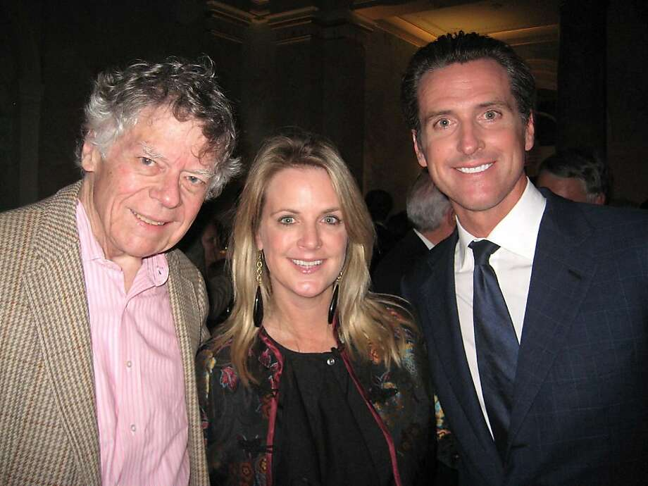 Gordon Getty (left) with Hilary Newsom Callan and Mayor Gavin Newsom. November 2010. By Catherine Bigelow.      Ran on: 12-05-2010 Gordon Getty (left), Hilary Newsom Callan and her brother, Mayor Gavin Newsom. Photo: Catherine Bigelow, Special To The Chronicle