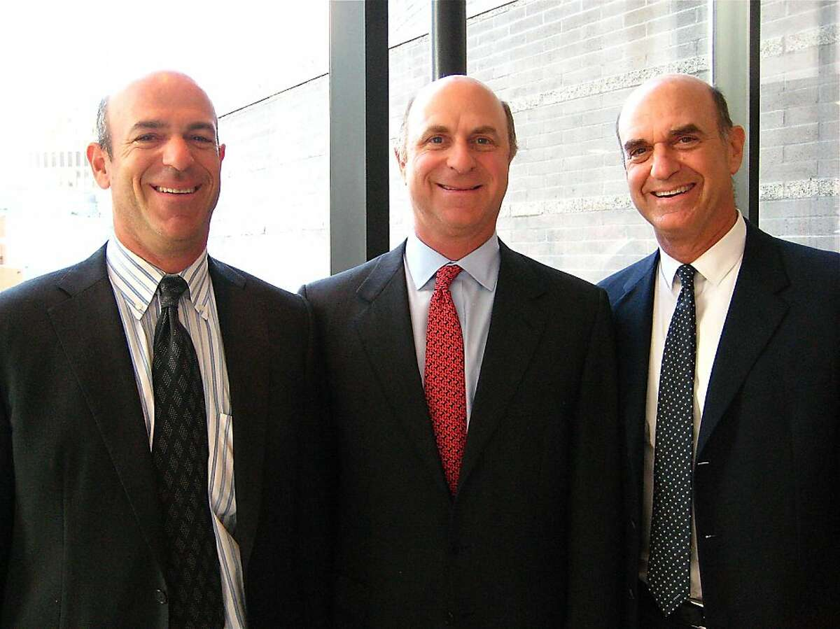 John Fisher (left) with his brothers, Bill Fisher and SFMOMA Board President Bob Fisher. September 2010. By Catherine Bigelow. Ran on: 09-19-2010 John Fisher (left) with brothers Bill Fisher and board President Bob Fisher.