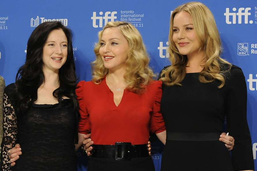 Actress Andrea Riseborough, from left, director-singer-actress Madonna and actress Abbie Cornish par