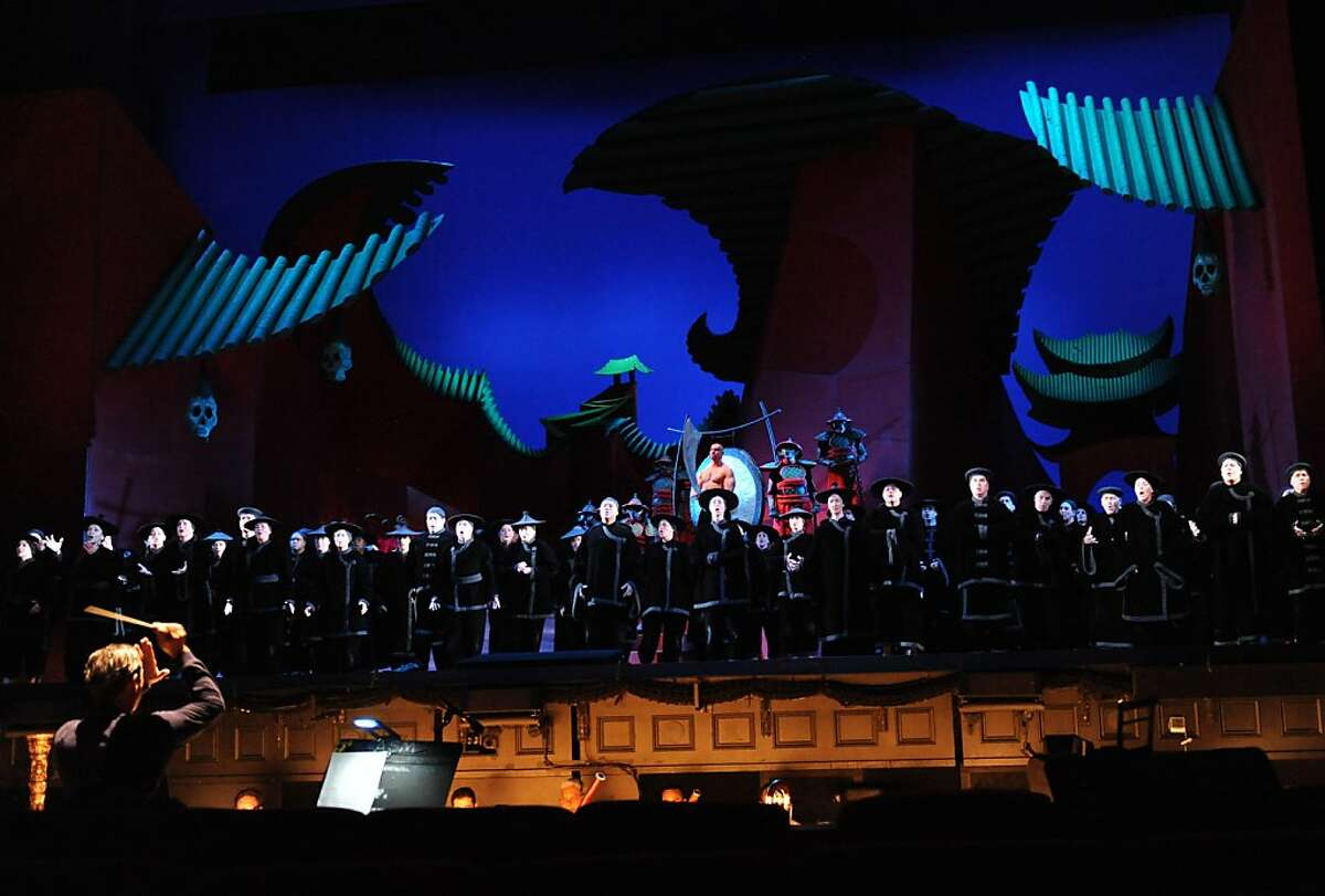 """People perform during the final dress rehearsal of Puccini's """"Turandot"""" at the War Memorial Opera House in San Francisco on Tuesday, September 6, 2011."""