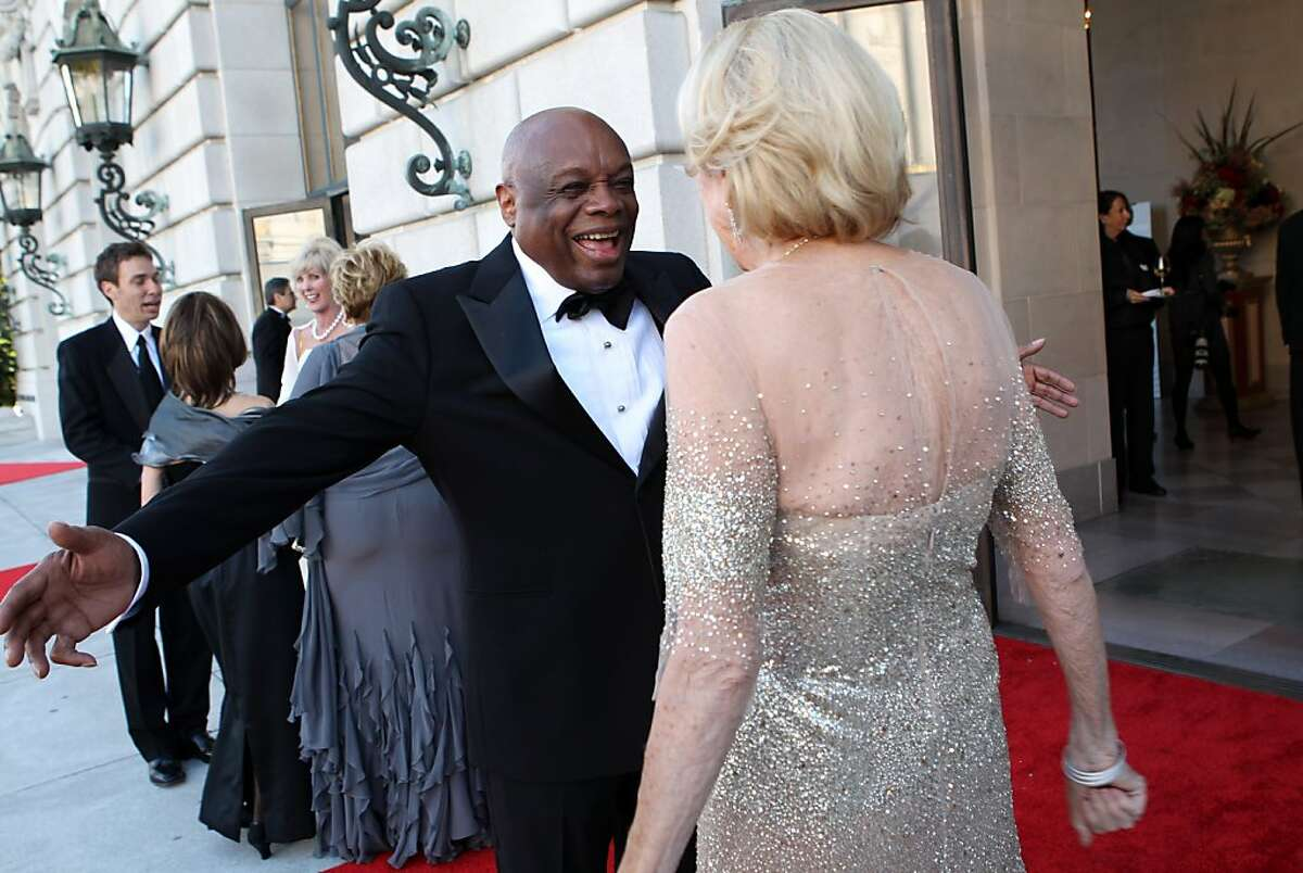 Former San Francisco Mayor Willie Brown greets Charlotte Shultz outside War Memorial Opera House during the San Francisco Symphony Opening Night Gala in San Francisco, Calif., on Wednesday, September 7, 2011.