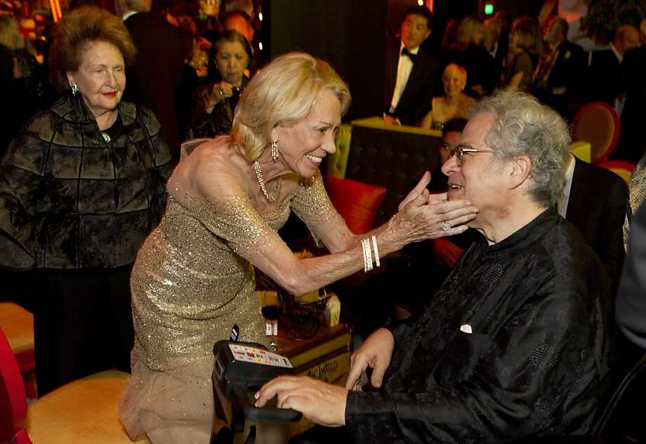 Gala co-chair Charlotte Shultz greets violinist Itzhak Perlman during a post-performance party at Davies Symphony Hall at the San Francisco Symphony Opening Night Gala in San Francisco, Calif., on Wednesday, September 7, 2011. Photo: Laura Morton, Special To The Chronicle