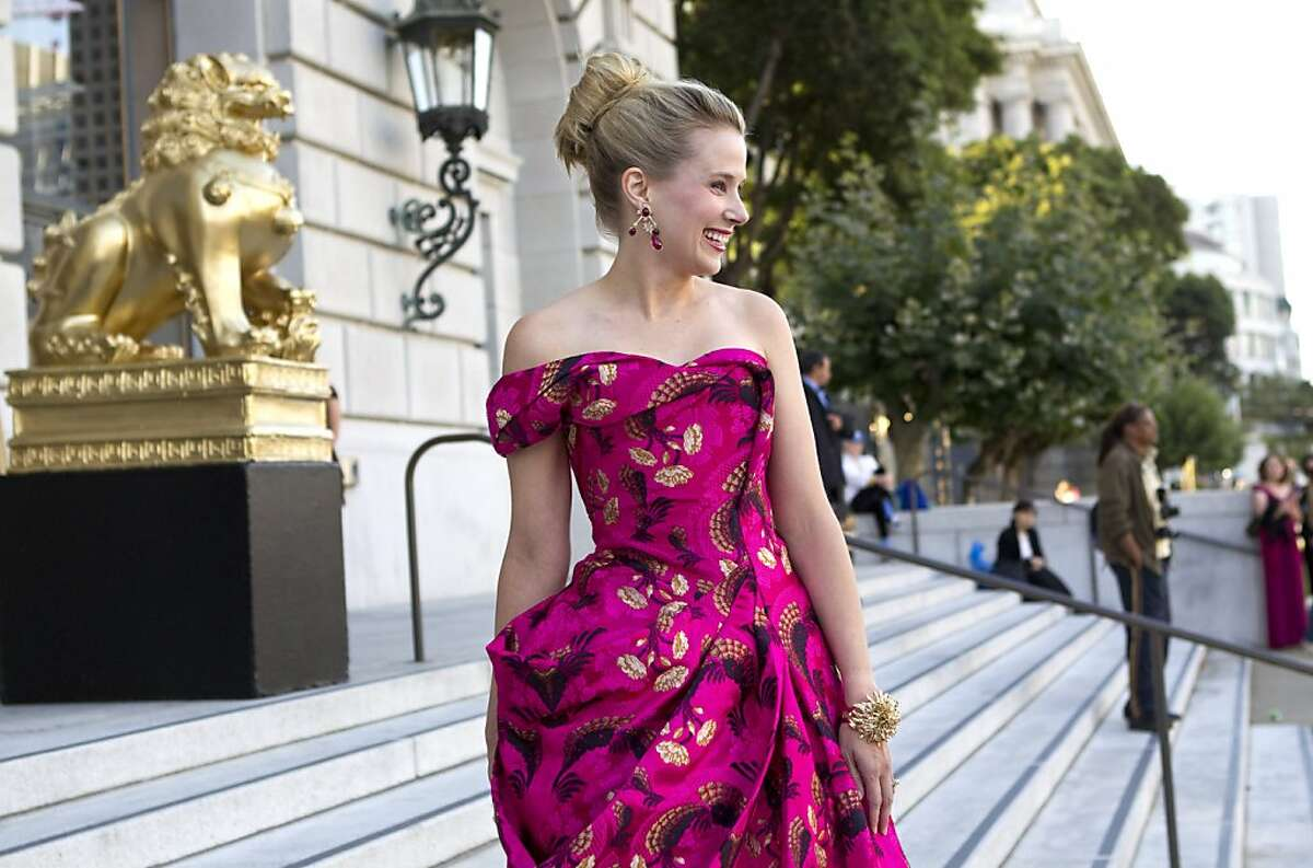 Marissa Mayer arrives at War Memorial Opera House wearing a gown custom designed by Sarah Burton for Alexander McQueen to attend the San Francisco Opera Opening Night Gala in San Francisco, Calif., on Friday, September 9, 2011.