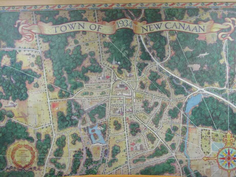 A map of New Canaan as seen in Town Hall depicting the town in 1934. Photo: Paresh Jha