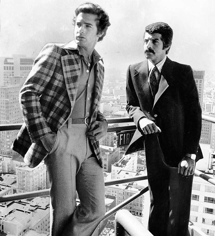 Two models pose on a fire escape overlooking San Francisco.July 22, 1974. Morgue01 Photo: Joe Rosenthal, The Chronicle