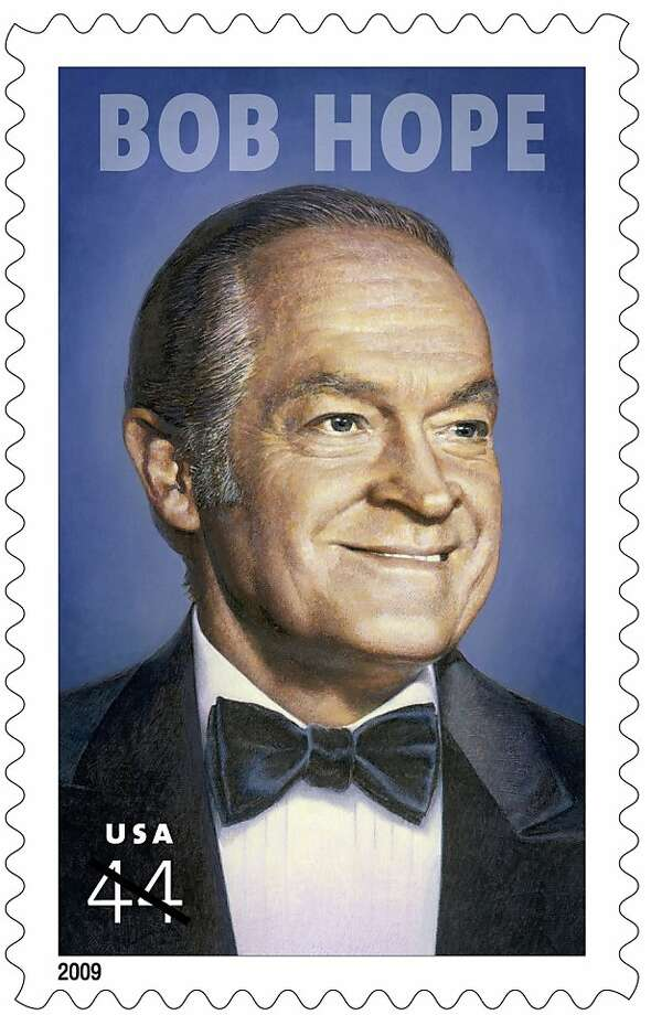This undated handout image provided the the U.S. Postal Service shows the 44-cent postage stamp honoring Bob Hope. The comedian famed for his tireless travel to entertain American servicemen and women around the world is being honored with a 44-cent postage stamp Friday in ceremonies aboard the U.S.S. Midway in San Diego. (AP Photo/USPS)   Ran on: 05-29-2009 The Bob Hope stamp honors his travel to entertain troops. Ran on: 05-29-2009 The Bob Hope stamp honors his travel to entertain troops. Photo: AP