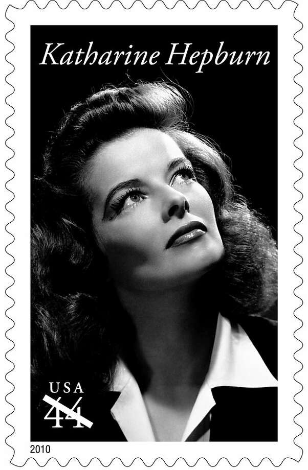 This undated handout photo provided by the U.S. Postal Service shows a first-class postage stamp showing Katharine Hepburn, that will go on sale nationwide Wednesday.  Katharine Hepburn is 16th movie star in Legends of Hollywood stamp series. (AP Photo/USPS)  Ran on: 05-14-2010 Katharine Hepburn receives rare honor. Photo: AP