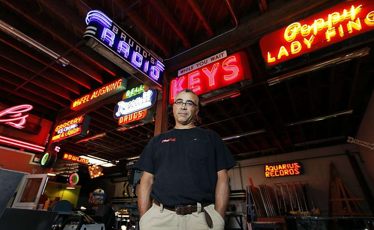 Jim Rizzo has been called the king of neon. He restores old neon, makes new environmentally friendly neon and is the go-to man for major companies that want to make a statement with their signs. He and his small staff work in a 10,000-sq-ft studio, that's more like a neon museum, with new signs and great old classics from the past, most are all from Bay Area institutions like Aquarius Records, Kirkpatrick's Bakery, and Lake Merced Lodge. Wednesday August 31, 2011 in Oakland, California.