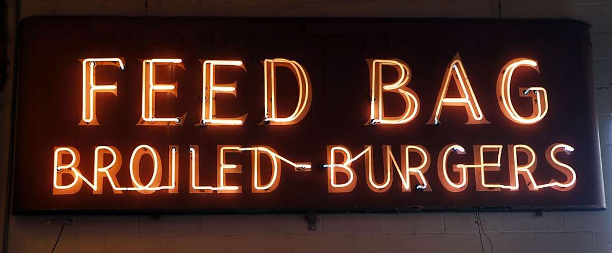 The Feed Bag neon sign now hangs in Jim Rizzo 10,000-sq-ft neon studio in Oakland. The Feed Bag once marked Ms Brown's restaurant in San Francisco in Laurel Heights neighborhood Wednesday August 31, 2011.