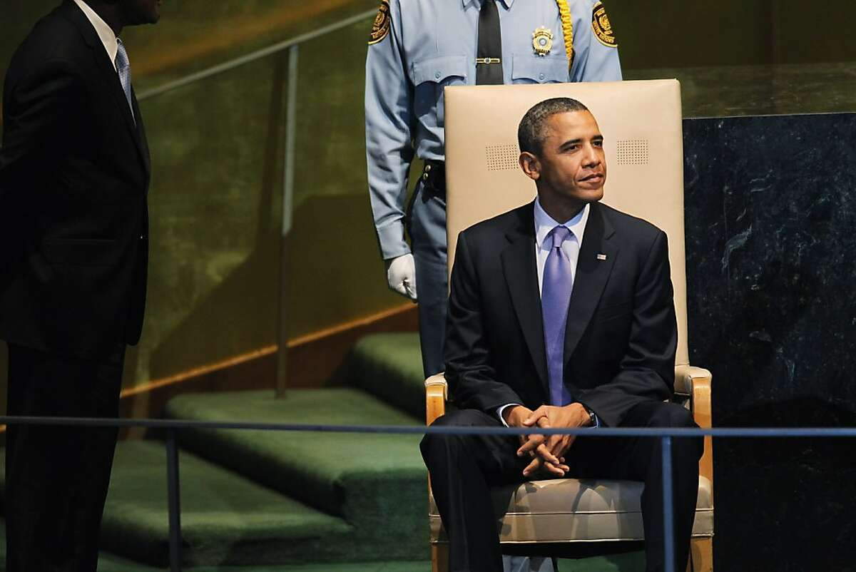 NEW YORK, NY - SEPTEMBER 21: U.S. President Barack Obama sits after he addressed the opening of the United Nations General Assembly on September 21, 2011 in New York City. The annual event, which is being dominated this year by the Palestinian's bid for full membership, gathers more than 100 heads of state and government for high level meetings on nuclear safety, regional conflicts, health and nutrition and environment issues. (Photo by Spencer Platt/Getty Images)