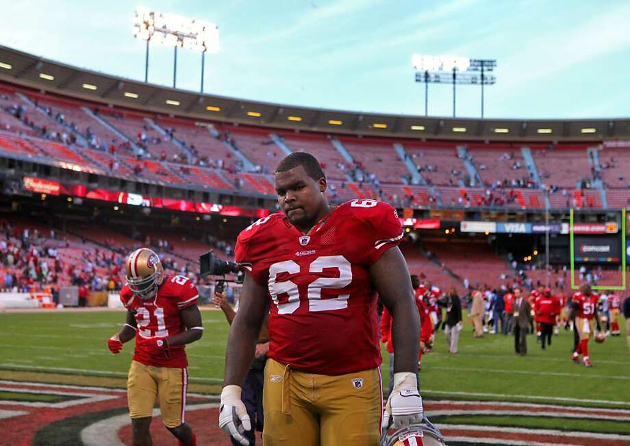 San Francisco 49ers Chilo Rachal walks off the field after losing the game against the Titans, Sunday Nov.8, 2009, in San Francisco, CAlif.   Ran on: 11-09-2009 Photo caption Dummy text goes here. Dummy text goes here. Dummy text goes here. Dummy text goes here. Dummy text goes here. Dummy text goes here. Dummy text goes here. Dummy text goes here.###Photo: 49ers09_chilorachalPH1257465600SFC###Live Caption:San Francisco 49ers Chilo Rachal walks off the field after losing the game against the Titans, Sunday Nov.8, 2009, in San Francisco, CAlif.###Caption History:San Francisco 49ers Chilo Rachal walks off the field after losing the game against the Titans, Sunday Nov.8, 2009, in San Francisco, CAlif.###Notes:###Special Instructions:MANDATORY CREDIT FOR PHOTOG AND SF CHRONICLE-NO SALES MAGS OUT-INTERNET OUT-TV OUT-INTERNET: AP MEMBER NEWSPAPERS ONLY  Ran on: 08-26-2011 Chilo Rachal, above after a loss to the Titans in 2009, started the 2010 season at 343 pounds and felt &quo;heavy&quo; and &quo;slow.&quo; He came to camp this year at 304. Ran on: 08-26-2011 Chilo Rachal, above after a loss to the Titans in 2009, started the 2010 season at 343 pounds and felt &quo;heavy&quo; and &quo;slow.&quo; He came to camp this year at 304. Ran on: 08-26-2011 Chilo Rachal, above after a loss to the Titans in 2009, started the 2010 season at 343 pounds and felt &quo;heavy&quo; and &quo;slow.&quo; He came to camp this year at 304. Ran on: 08-26-2011 Chilo Rachal, above after a loss to the Titans in 2009, started the 2010 season at 343 pounds and felt &quo;heavy&quo; and &quo;slow.&quo; He came to camp this year at 304. Photo: Lacy Atkins, The Chronicle