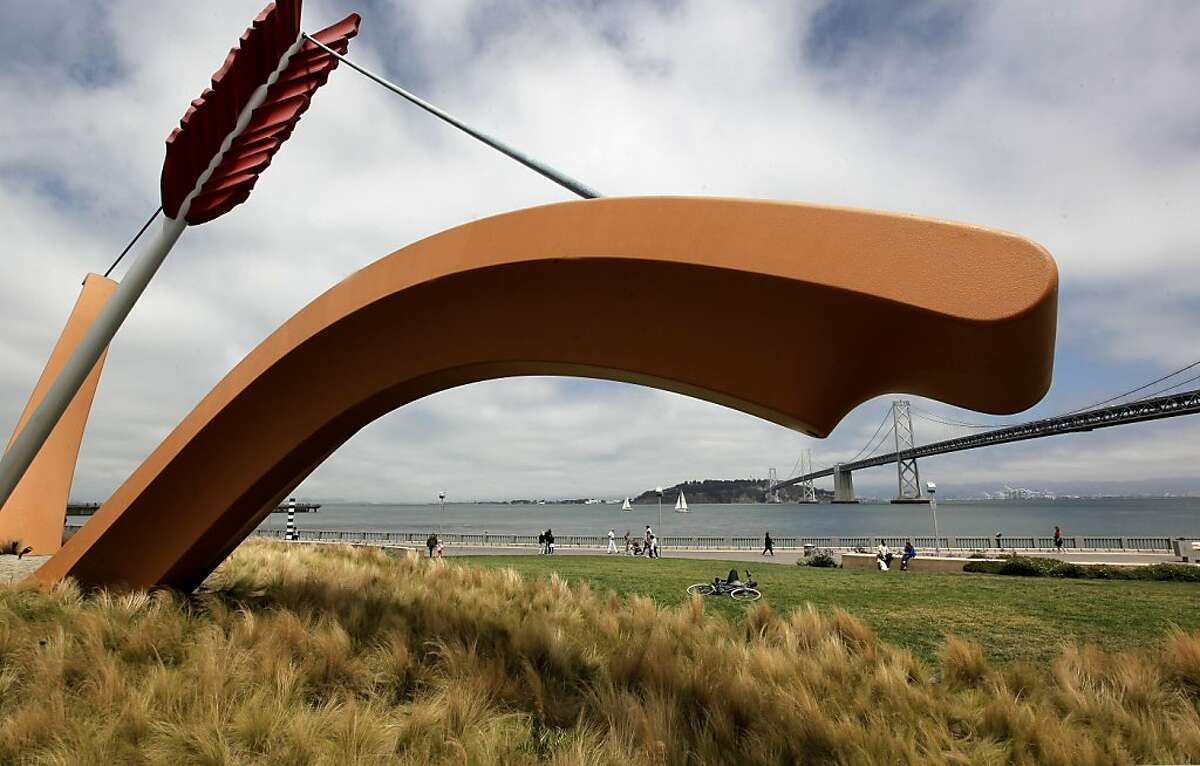 """The foot of Folsom Street ends at the sculpture, """"Cupid's Span"""", with the Bay Bridge in the background, on Friday August 19, 2011 in San Francsico, Ca. Urban design piece on how it's nuts to think of filling in this open basin with a marina for superyachts, along the Embarcadero for six months but that's exactly what Larry Eliison wants to do with the America's Cup in town in 2013."""