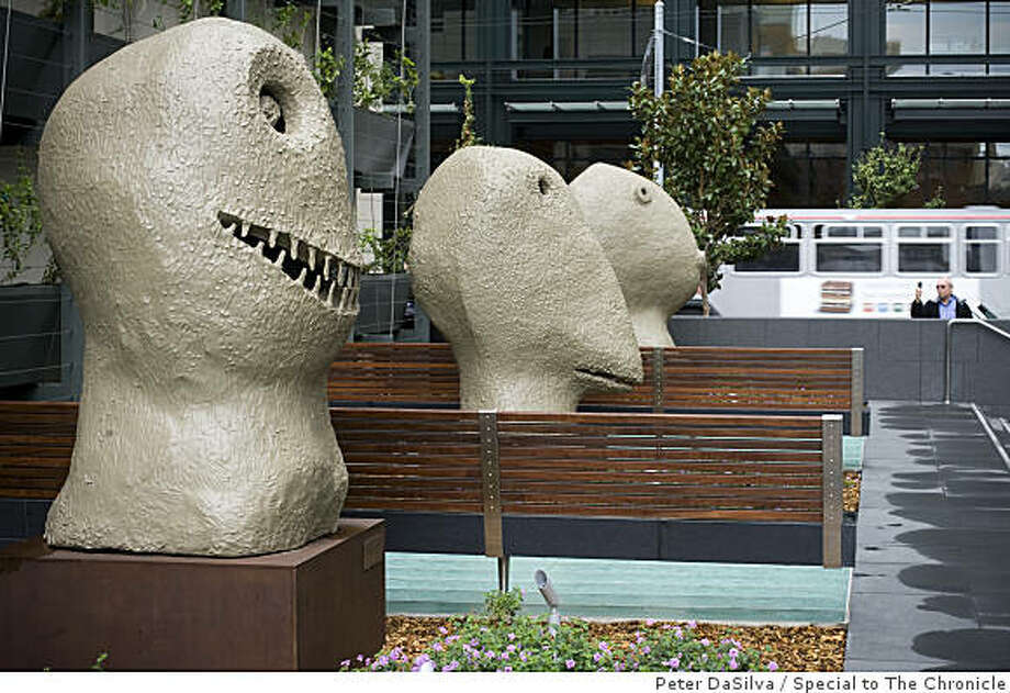 Three public artworks by Ugo Rondinone can be seen in the new plaza at 555 mission street in San Francisco, California, Oct. 31, 2008. Photo: Peter DaSilva, Special To The Chronicle