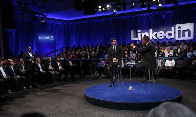 "President Obama (right) answers a question from Robert Hawley (left) of Charlotte, North Carolina during the ""Putting America Back to Work"" LinkedIn Town Hall while sitting with Jeff Weiner (center), LinkedIn CEO,  at the Computer History Museum in Mountain View, Calif., on Monday, September 26, 2011. Photo: Lea Suzuki, The Chronicle"