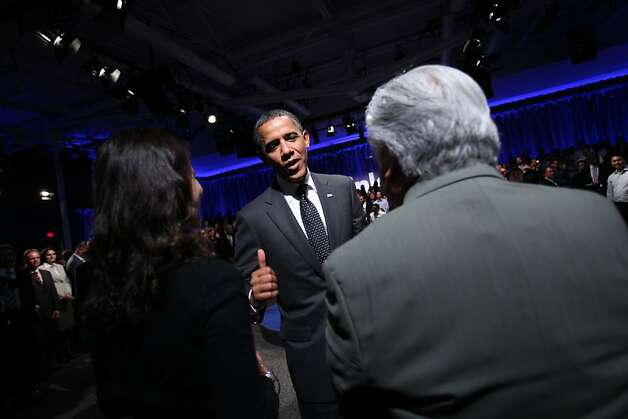 "President Obama (center) talks with Lisette Derouaux (left), wife of Jeff Weiner and Congressman Mike Honda (right) after the ""Putting America Back to Work"" LinkedIn Town Hall at the Computer History Museum in Mountain View, Calif., on Monday, September 26, 2011. Photo: Lea Suzuki, The Chronicle"