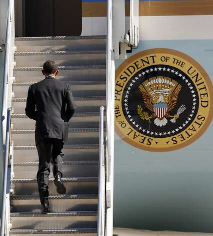The President jogged up the steps of Air Force One. President Barack Obama departed Moffett Field in Mountain View, Calif. Monday September 26, 2011 after a brief visit to the Bay Area. Photo: Brant Ward, The Chronicle