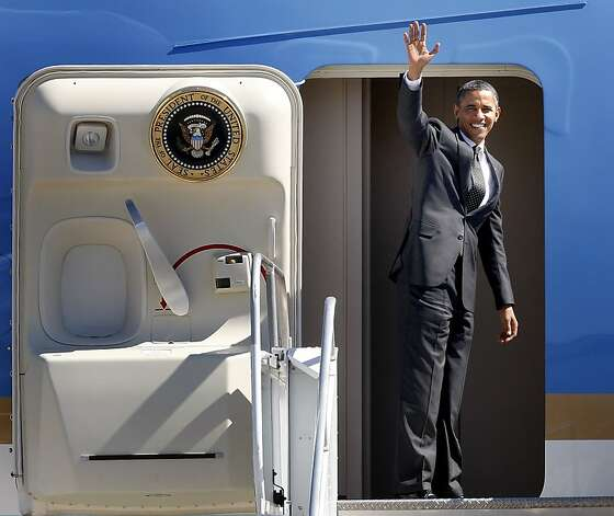 The President waved goodbye as he boarded Air Force One. President Barack Obama departed Moffett Field in Mountain View, Calif. Monday September 26, 2011 after a brief visit to the Bay Area. Photo: Brant Ward, The Chronicle