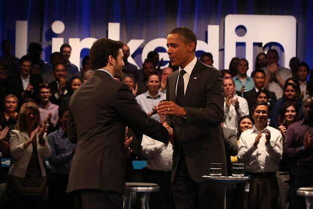 "President Obama (right) greets Jeff Weiner (left), LinkedIn CEO,  as he arrives for the ""Putting America Back to Work"" LinkedIn Town Hall at the Computer History Museum in Mountain View, Calif., on Monday, September 26, 2011. Photo: Lea Suzuki, The Chronicle"