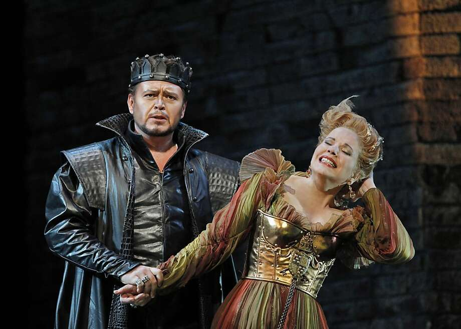 "Vitalij Kowaljow (l.) as Don Alfonso and Renée Fleming (top) as Lucrezia Borgia in Donizetti's ""Lucrezia Borgia"" at San Francisco Opera Photo: Cory Weaver"