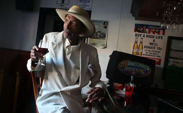 Charlie Genratt was a past bartender of Sam Jordan's House of Ribs, 4004 3rd St., in San Francisco, California, for fifteen years during the late fifties as he sits having a merlot with a side cherry juice on Tuesday, September 20, 2011. Photo: Liz Hafalia, The Chronicle