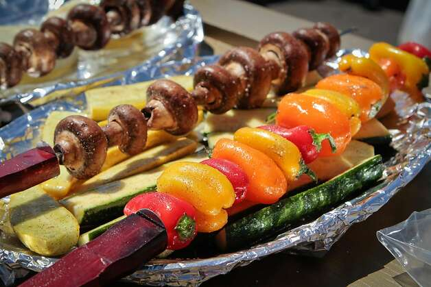 Vegetable skewers ready for the grill at Candlestick Park before the 49er-Texans game in San Francisco, Calif., on August 26th, 2011. Photo: John Storey, Special To The Chronicle