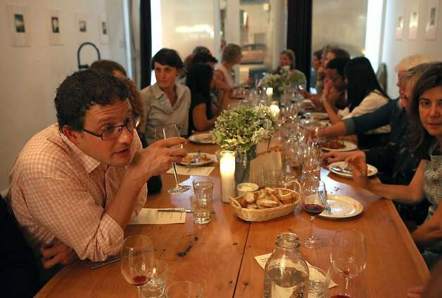 Stephen Jones (left) from San Francisco socializing during the producer dinner featuring Cowgirl Creamery cheeses at 18 Reasons in San Francisco, Calif., on Friday, August 19, 2011. Photo: Liz Hafalia, The Chronicle