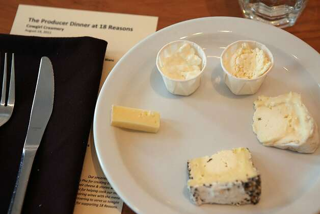 A cheese plate featuring wagon wheel, Mt. Tam, cottage cheese, and fromage blanc at the producer dinner featuring Cowgirl Creamery cheeses at 18 Reasons in San Francisco, Calif., on Friday, August 19, 2011. Photo: Liz Hafalia, The Chronicle
