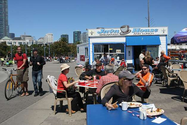 The Java House and outside eating area just before a Giant's game in San Francisco, Calif.,  on Sunday, August 28, 2011. Photo: Liz Hafalia, The Chronicle