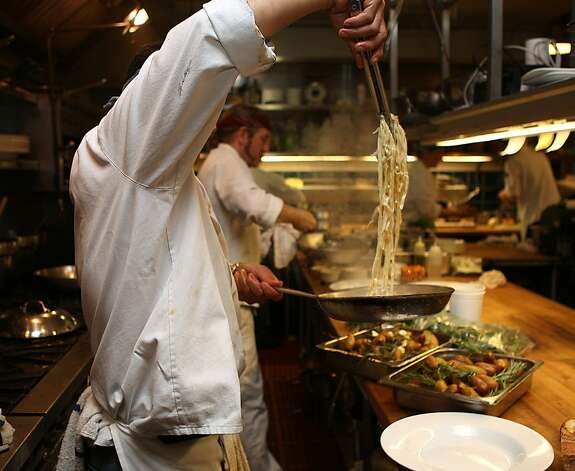 Chef Freddy Solorzano making pasta at Green's Restaurant in Fort Mason in San Francisco, Calif.,  on Monday, August 22, 2011. Photo: Liz Hafalia, The Chronicle