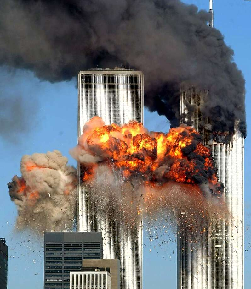 Hijacked United Airlines Flight 175 from Boston crashes into the south tower of the World Trade Center and explodes at 9:03 a.m. on September 11, 2001 in New York City.  The crash of two airliners hijacked by terrorists loyal to al Qaeda leader Osama bin Laden and subsequent collapse of the twin towers killed some 2,800 people. Photo: Spencer Platt