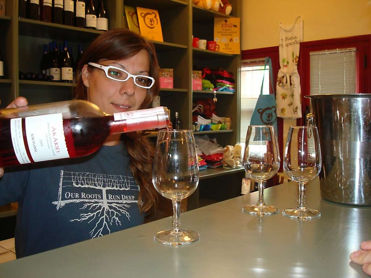 Haroula Vasiliadou, the lone wine attendant at Kir-Yianni winery in the Macedonia wine region of Northern Greece.