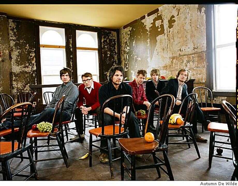 (LEFT TO RIGHT) Glenn Kotche, Mikael Jorgensen, Jeff Tweedy, Nels Cline, Pat Sansone and John Stirrat. Photo: Autumn De Wilde
