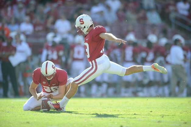Jordan Williamson kicks in Stanford's 57-3 win over San Jose State on Sept. 3. Credit:John Todd STANFORD, CA - SEPTEMBER 3: Stanford defeats San Jose State 57-3 at Stanford Stadium, September 3, 2011 in Stanford, California. Photo: John Todd, Stanfordphoto.com
