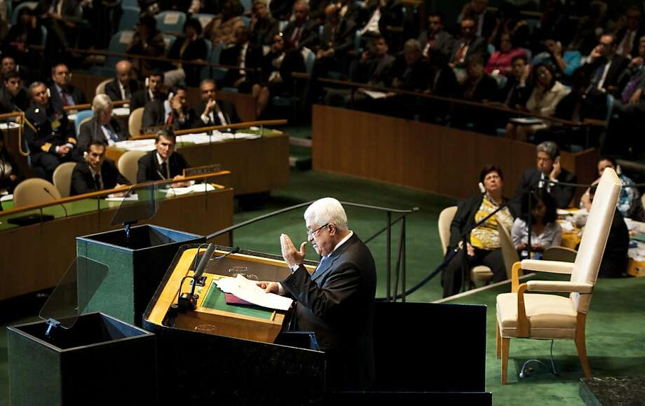 Mahmoud Abbas, President of the Palestinian Authority, speaks during the United Nations General Assembly on September 23, 2011 at UN headquarters in New York. The Palestinian leader won huge applause and a standing ovation Friday from some of the assembly as he entered the hall shortly after asking the UN to admit the state of Palestine. AFP PHOTO / DON EMMERT (Photo credit should read DON EMMERT/AFP/Getty Images) Photo: Don Emmert, AFP/Getty Images