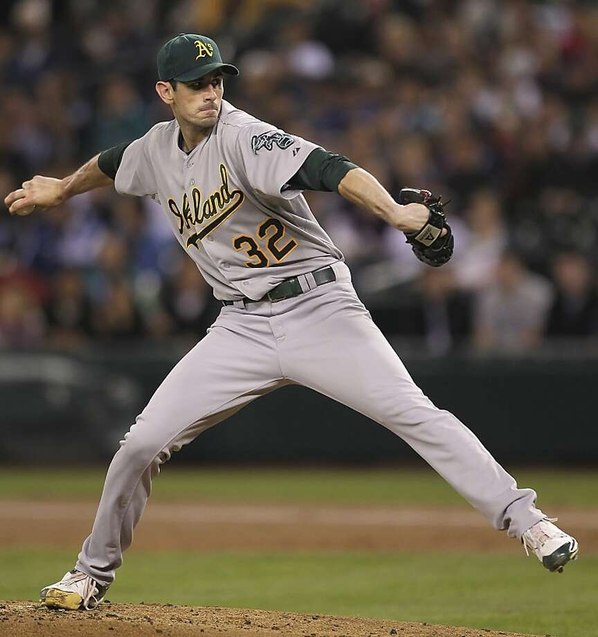 SEATTLE - SEPTEMBER 26:  Starting pitcher Brandon McCarthy #32 of the Oakland Athletics pitches against the Seattle Mariners at Safeco Field on September 26, 2011 in Seattle, Washington. (Photo by Otto Greule Jr/Getty Images) Photo: Otto Greule Jr, Getty Images