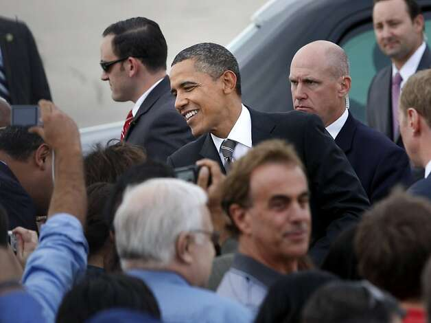 President Obama greeted guests at Moffett Field. President Barack Obama arrived at Moffett Field in Mountain View, Calif. Sunday September 25, 2011 for a series of fundraisers and meetings. Photo: Brant Ward, The Chronicle